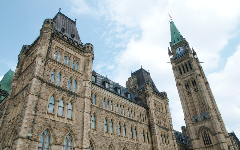 Canadian Parliament buildings taken from a low angle